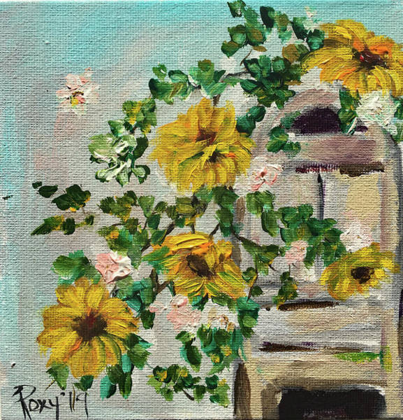 Wall Art - Painting - Sunflower Vine by Roxy Rich