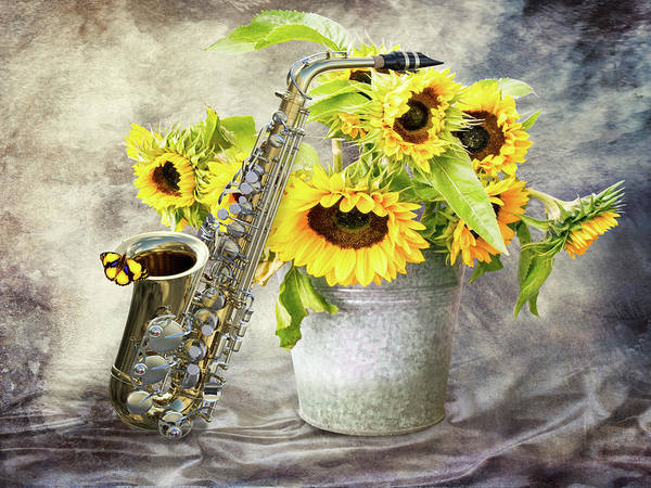 Wall Art - Photograph - Sunflowers And Saxophone by Mihaela Pater