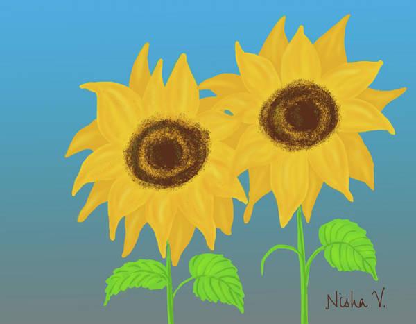 Wall Art - Digital Art - Sunflowers Duo by Nishma Creations