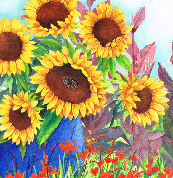 Mixed Media - Sunflowers Galore by Val Stokes