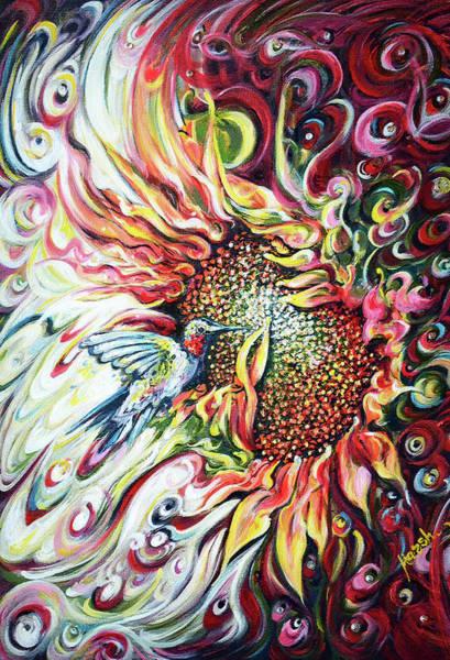 Wall Art - Painting - Sunflowers - Hummingbird  by Harsh Malik