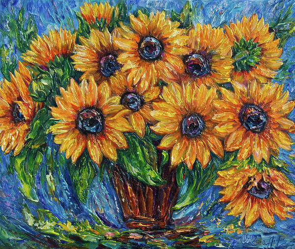 Photograph - Sunflowers In A Vase 2  by OLena Art Brand