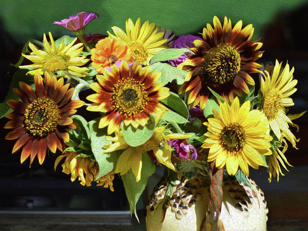 Sunflowers In A Vase Photograph - Sunflowers In A Vase by Joanne Soucy-Butler
