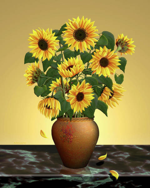 Painting - Sunflowers In Pot by David Arrigoni