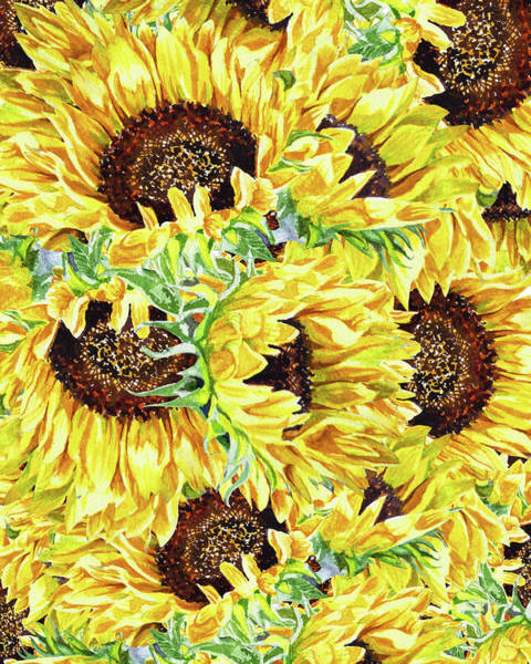 Wall Art - Painting - Sunflowers Pattern Watercolor Flowerbed  by Irina Sztukowski