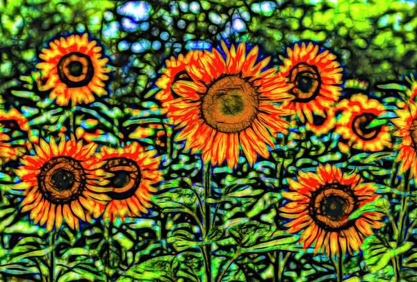 Wall Art - Photograph -  Sunflowers Stained Glass Art by David Pyatt