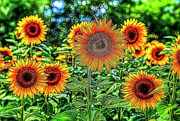 Wall Art - Photograph - Sunflowers Stained Glass by David Pyatt