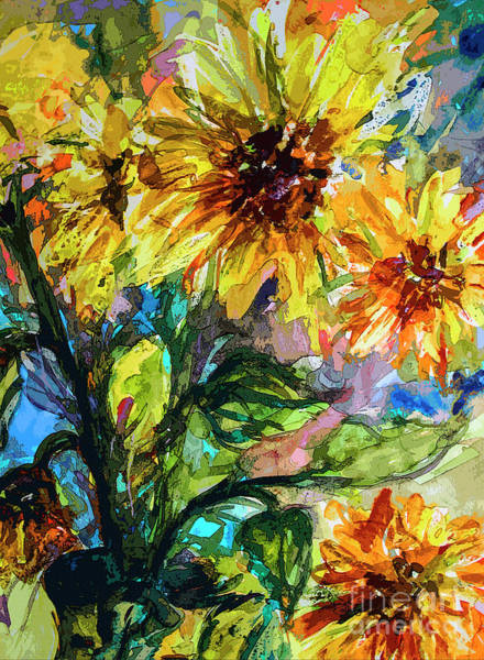 Mixed Media - Sunflowers Summer Flowers Mixed Media by Ginette Callaway