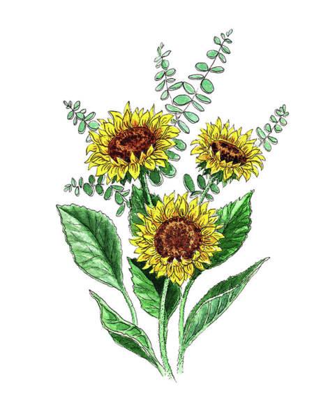 Painting - Sunflowers Sunny Bouquet In Watercolor by Irina Sztukowski