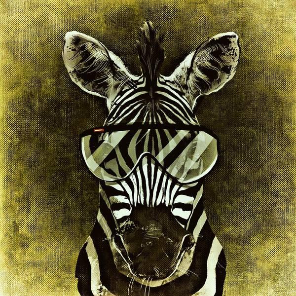 Wall Art - Painting - Sunglasses Zebra by ArtMarketJapan