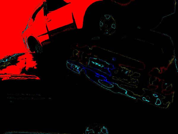 Digital Art - Sunken Car by Artist Dot