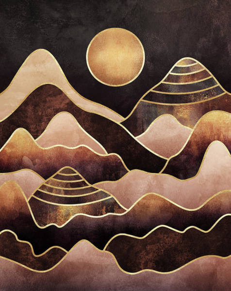 Golden Digital Art - Sunkissed Mountains by Elisabeth Fredriksson