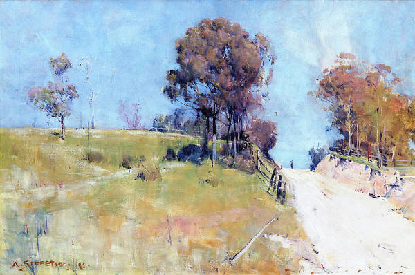 Wall Art - Painting - Sunlight, Cutting On A Hot Road - Digital Remastered Edition by Arthur Streeton