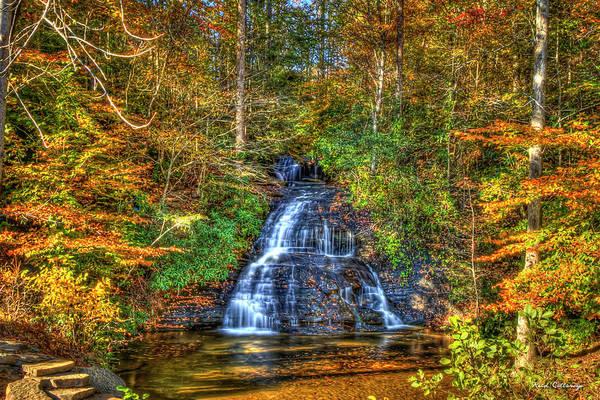 Thru Photograph - Sunlight Drenched Greenville South Carolina Waterfall Art  by Reid Callaway