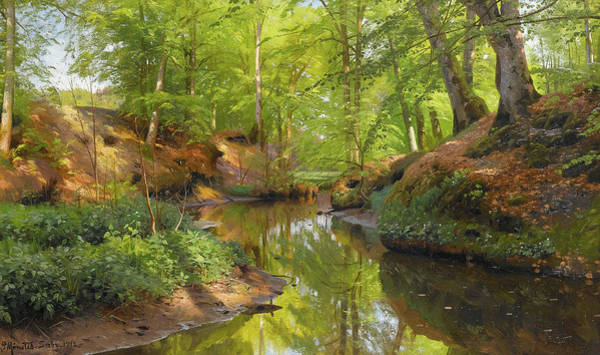 Wall Art - Painting - Sunlight In A Wood by Peder Mork Monsted