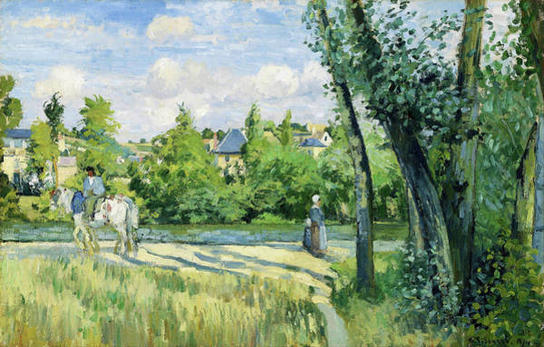 Country Living Painting - Sunlight On The Road, Pontoise - Digital Remastered Edition by Camille Pissarro