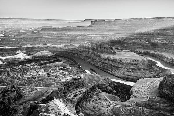 Photograph - Sunlight Over Dead Horse Point State Park - Black And White by Gregory Ballos