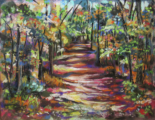 Pastel - Sunlit Forest Path by Jean Batzell Fitzgerald