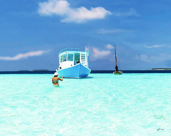 Love In The Afternoon Painting - Sunny Afternoon In Maldives by Rani S Manik
