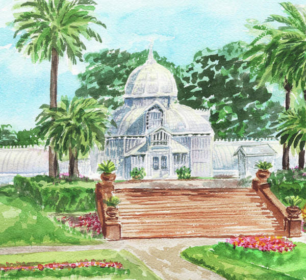 Painting - Sunny Day Conservatory Of Flowers Watercolor by Irina Sztukowski
