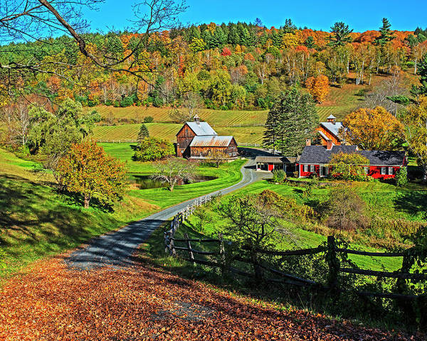 Photograph - Sunny Day On Sleepy Hollow Farm Woodstock Vermont Fall Foliage by Toby McGuire