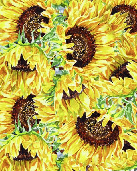 Wall Art - Painting - Sunny Day Watercolor Sunflowers Pattern by Irina Sztukowski