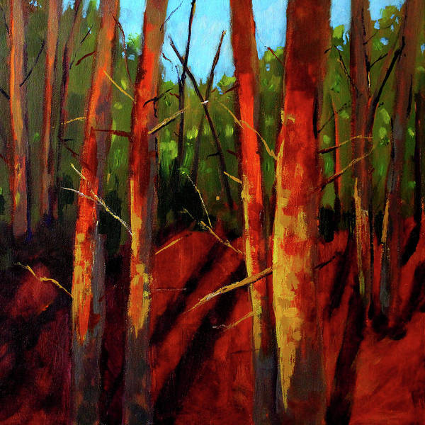 Wall Art - Painting - Sunny Forest Landscape by Nancy Merkle