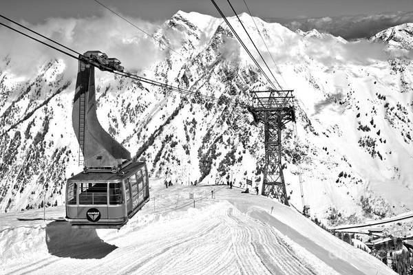 Photograph - Sunny Skies Over The Blue Snowbird Tram Black And White by Adam Jewell