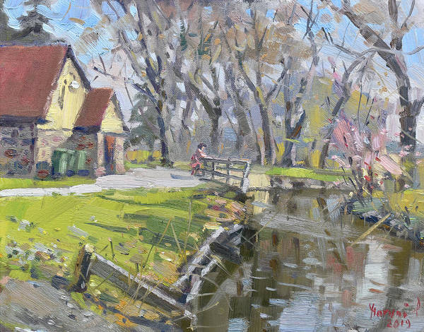 Lake House Painting - Sunny Spring Day by Ylli Haruni