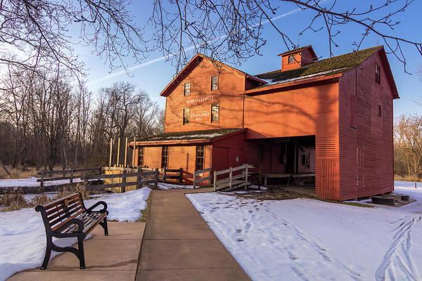 Bonneyville Mill Wall Art - Photograph - Sunny Winter Day At Bonneyville Mill by Jason Champaigne