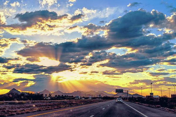 Photograph - Sunrays Over Tucson Freeway by Chance Kafka
