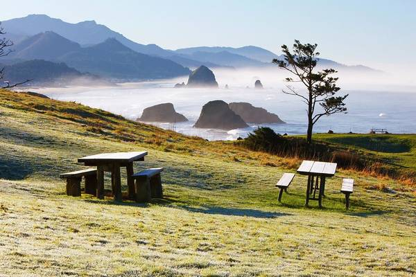 Ecola State Park Photograph - Sunrise And Morning Fog Add Beauty To by Design Pics / Craig Tuttle