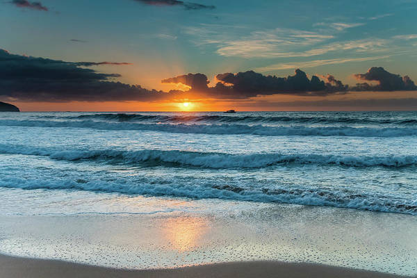 Killcare Photograph - Sunrise And Waves At The Seaside by Merrillie Redden