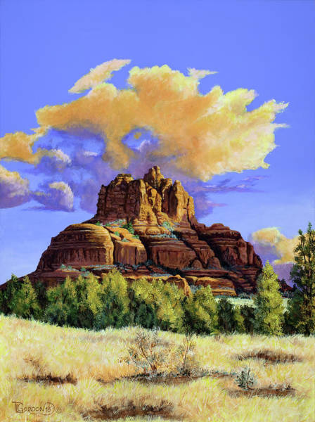 Outcrop Painting - Sunrise At Bell Rock-sedona-az by Timithy L Gordon