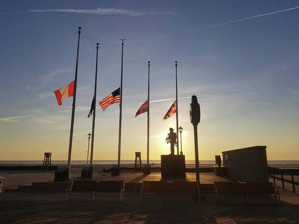 Photograph - Sunrise At Firefighter Memorial by Robert Banach