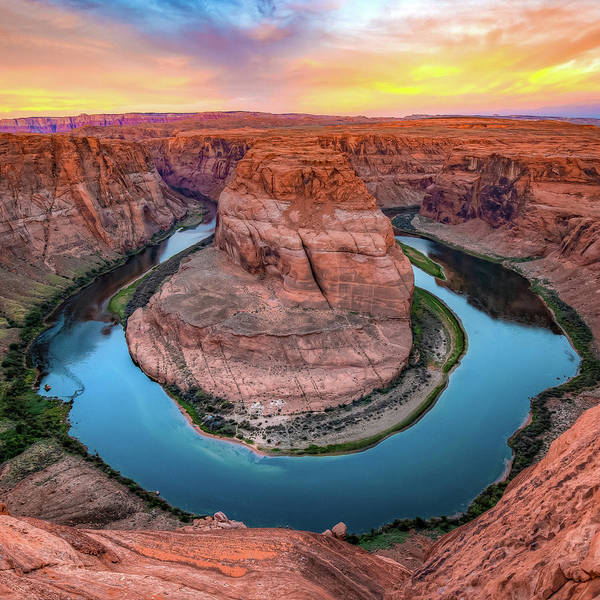Photograph - Sunrise At Horseshoe Bend - Square Format by Gregory Ballos