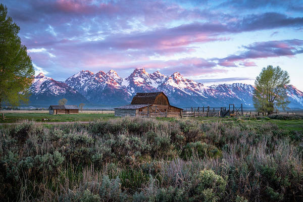 Photograph - Sunrise At Moulton Barn In Grand Teton National Park by James Udall