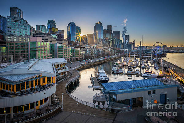Pikes Place Wall Art - Photograph - Sunrise At Pier 66 by Inge Johnsson