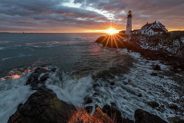 Photograph - Sunrise At Portland Head Light by Darryl Hendricks