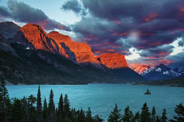 Wall Art - Photograph - Sunrise At St. Mary Lake by Piriya Photography