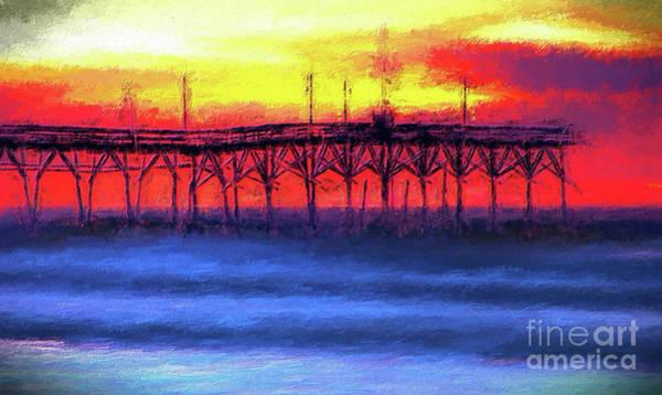 Wall Art - Digital Art - Sunrise At Sunset Beach Pier Ap by Dan Carmichael