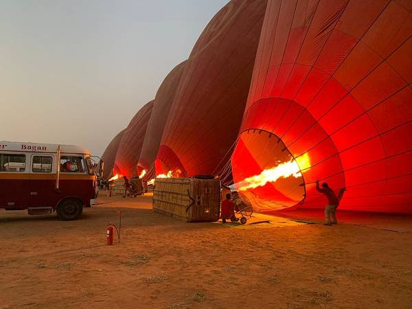 Wall Art - Photograph - Sunrise Balloons Over Bagan - The Burn by Anthonne Shepherd