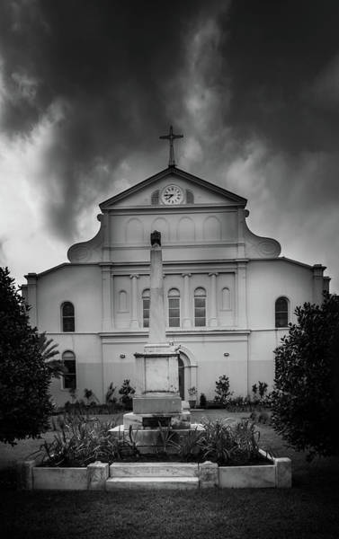 Wall Art - Photograph - Sunrise Behind Saint Louis Cathedral In Black And White by Greg and Chrystal Mimbs