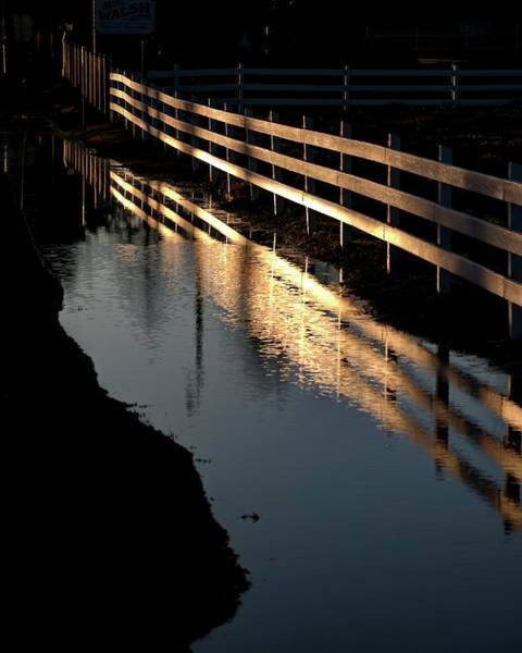 Photograph - Sunrise Fence And Reflection by Jerry Sodorff
