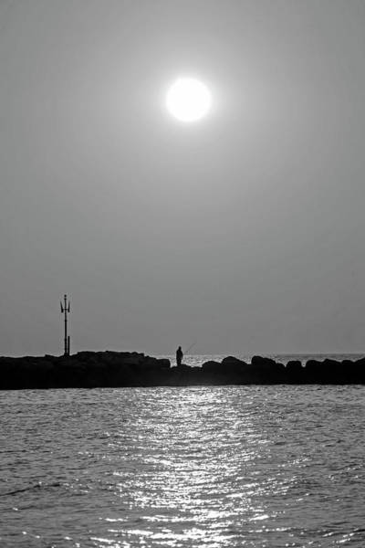 Photograph - Sunrise Fishing On Green Harbor Beach Marshfield Ma Black And White by Toby McGuire