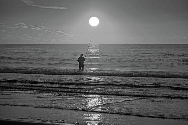 Photograph - Sunrise Fishing On Ogunquit Beach Ogunquit Maine Black And White by Toby McGuire