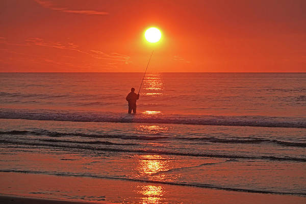Photograph - Sunrise Fishing On Ogunquit Beach Ogunquit Maine by Toby McGuire