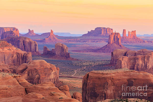 Remote Photograph - Sunrise In Hunts Mesa, Monument Valley by Elena suvorova