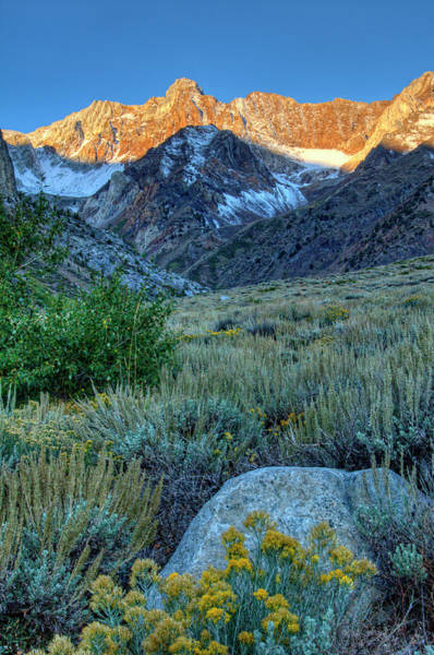 Sierra Nevada Mountain Range Photograph - Sunrise In Mcgee Creek With Boulder In by Bill Wight