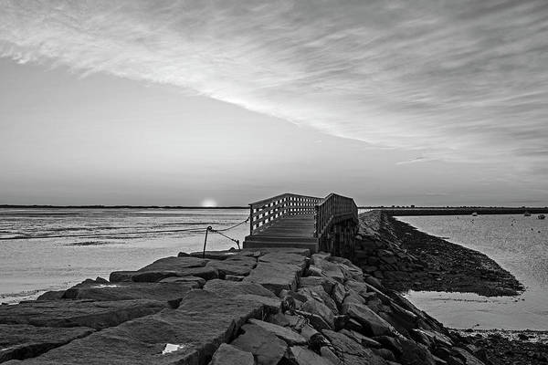 Wall Art - Photograph - Sunrise In Plymouth Ma Bridge And Rock Wall Black And White by Toby McGuire